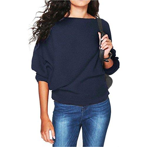 JiaMeng Damen Winter Pullover, Damen Fledermaus Ärmel gestrickt Pullover lose Pullover Pullover Tops Strickwaren (Navy blau, XL) -