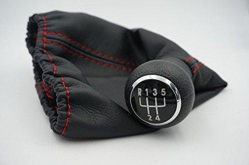 Preisvergleich Produktbild Schwarz lea-ther 5 SPEED CAR Aluminium manuelle Stick Gear Shift Knöpfe Rot Line 1H0 711 141 A / 1H0 711 115 A