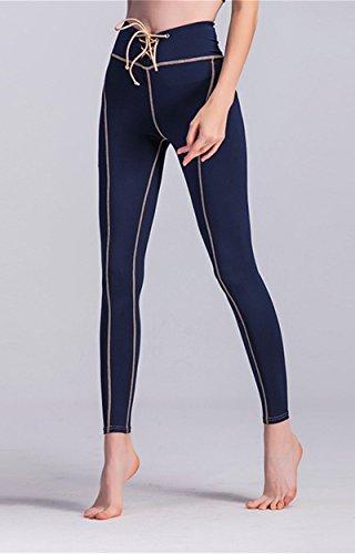 AiJump Femmes Leggings de Sport Yoga Fitness Pantalons pour Athlétique d'entraînement Running Jogging Gym Pilates Bleu
