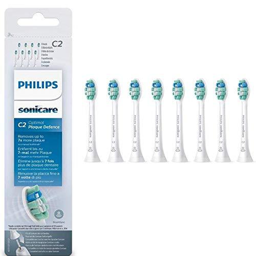 Philips Sonicare HX9028/10 Pack têtes de brosse contre la plaque Optimal Plaque Defense C2 avec BrushSync (X8)