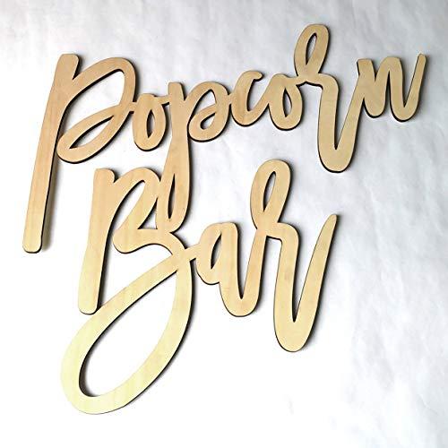 Comomingo Hochzeitsdekor Popcorn Bar Buchstaben Holzdekor Zeichen für Hochzeit Engagement -