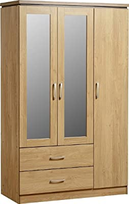 Seconique Charles 3 Door 2 Drawer Mirrored Wardrobe - Oak Effect Veneer with Walnut Trim
