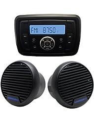 "Al aire libre impermeable Marine Radio receptor de audio fmam MP3Bluetooth reproductor de Marino para yate barco + 3""Marine altavoz ATV baño"