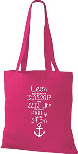 Shirtstown Stoffbeutel ein tolles Geschenk zur Geburt mit deinen persönlichen Initilien Anker Pink