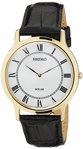 Seiko Men's Quartz Watch with Black Dial Analogue Display and Gold Leather SUP878P1