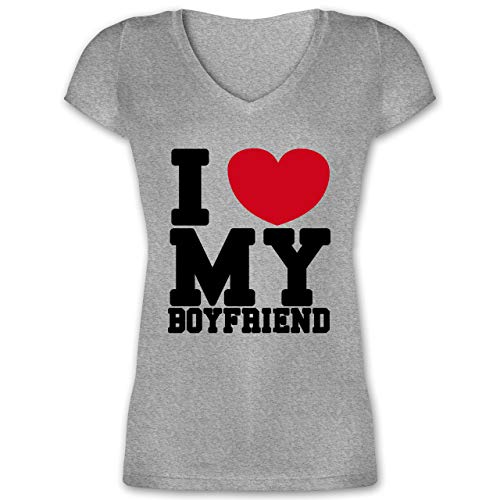Dude Love Kostüm - Valentinstag - I Love My Boyfriend - XL - Grau meliert - XO1525 - Damen T-Shirt mit V-Ausschnitt