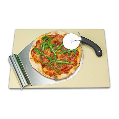 RADOLEO® Pizzastein XL aus Cordierit - Premium Set mit Pizza-Roller & Pizzaschaufel | für Gas Grill & großen Back-Ofen | edle Verpackung | 44x30x1,3cm