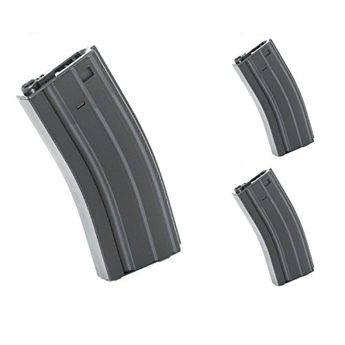Airsoft Softair Ersatzteile E&C 3pcs 300rd Hi-Cap Mag Magazin für M4 M16 Serie AEG Schwarz -
