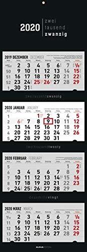 4-Monatskalender Black 2020 - Wandkalender - Bürokalender (34,5 x 100 geöffnet) - faltbar - mit Datumsschieber -