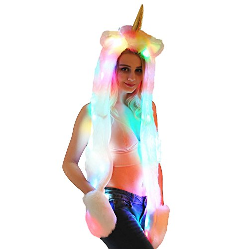 LED Unicorn Hut Schal Handschuhe Luminous Kätzchen Faux Pelz Hut Schal Handschuhe 3 in 1 Party Headwear (Einhorn)