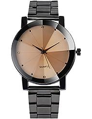 Reloje Hombre,Xinan Cristal Mujeres del Reloj Acero Inoxidable Cuarzo Analógico (Negro)