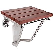 GRJH® Taburete de ducha plegable, plegable antideslizante Soporte de acero inoxidable Panel de madera maciza Taburete de ducha de baño impermeable,Confort ambiental ( Tamaño : #1 )