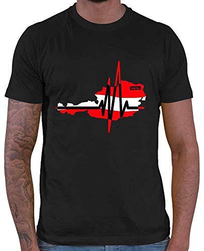 HARIZ Herren T-Shirt Herzschlag Österreich Berge Mountain Plus Geschenkkarte Schwarz S