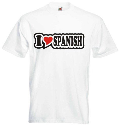 T-Shirt Herren - I Love Heart - I LOVE SPANISH Weiß