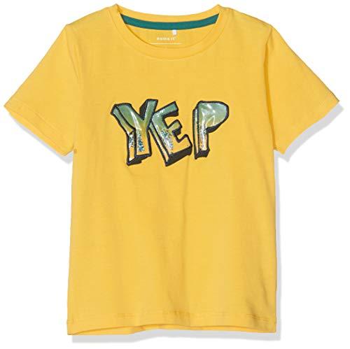 NAME IT Jungen Nmmhukko Ss Top T-Shirt,Gelb (Daffodil), (Herstellergröße: 104)