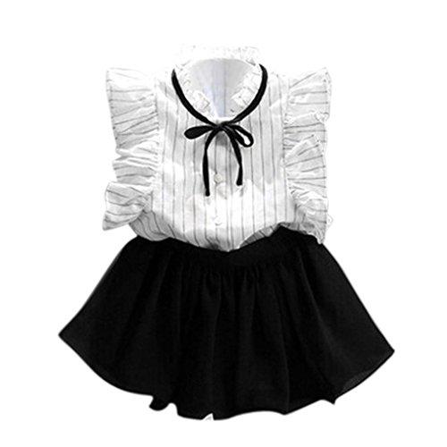 Manadlian Fille Robe de Princesse Fille, Stripe Shirt en Mousseline de Soie  Culottes Deux Pièces 6c8fe301d63