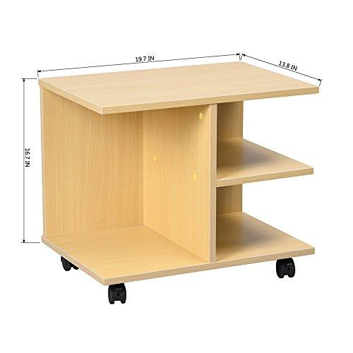 Ripiani armadio Ihouse caffè tavolino multifunzionale tavolino comodino girevole freno rotelle Ultility ripiani portaoggetti in legno di faggio