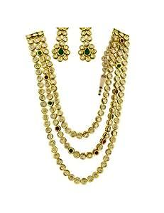 Bridal Jewellery set Three Line Long Vilandi Kundan Necklace Set with Ruby & Emerald Stones in-between
