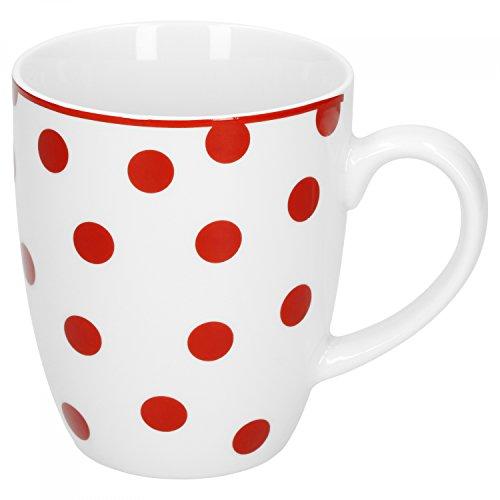 Van Well Geschirr Serie Funny Porzellan   weiß mit roten Punkten   Kaffeebecher 370ml