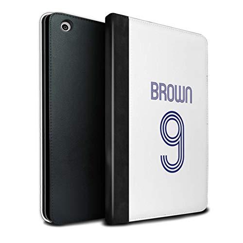 Personalisiert Individuell Fußball Vereine Trikots Kit PU-Leder Hülle für Apple iPad Mini 1/2/3 / Weiß Blau Design/Initiale/Name/Text Tablet Schutzhülle/Tasche/Etui
