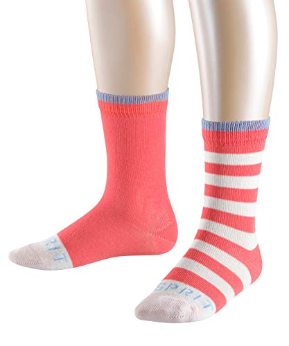 ESPRIT Kinder Socken Stripe Logo 2-Pack, 81% Baumwolle, 2 Paar, Rot (Coral 8884), Größe: 35-38