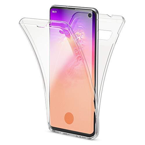 NALIA 360 Grad Hülle kompatibel mit Samsung Galaxy S10, Full Cover vorne hinten Rundum Doppel-Schutz Handyhülle Dünn Ganzkörper Case Silikon Etui, Durchsichtig Displayschutz Rückseite - Transparent