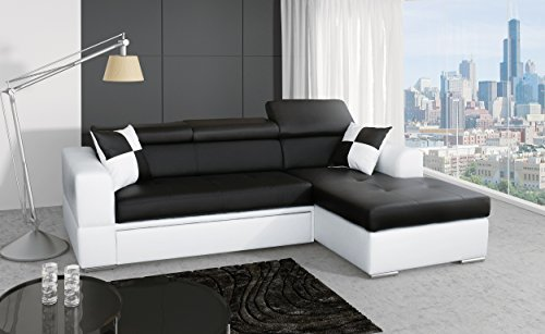 Ecksofa Sofa Eckcouch Couch mit Schlaffunktion und Bettkasten Ottomane L-Form Wohnlandschaft ALICANTE (Ecksofa Rechts)