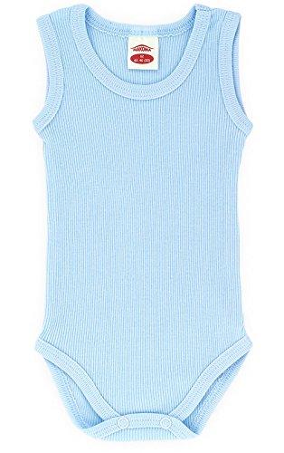 Baby-Mode Unisex Body ärmellos gerippt (Blau, 98)