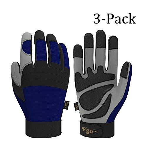 Vgo Glove Synthetischer Leder Arbeitshandschuhe, Handwerk und Mechanikarbeit (blau, 3 Paare, 9/L, 10/XL), blau (Leder 10)