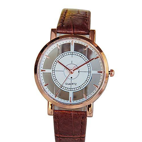 Bestow Mujeres Neutral Personality Simple Analog Wrist Delicate Unique Hollow Reloj Hueco Reloj Leather Strap