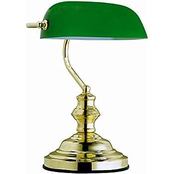 Globo lampada da tavolo con paralume in vetro verde 60 w attacco e27 altezza 36 cm for Lampada da tavolo verde