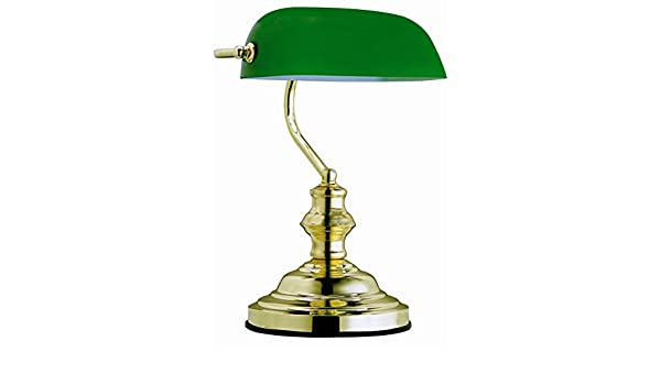 De Verre Table Vert Lampe Banquier Globo Laiton pzMqUSV
