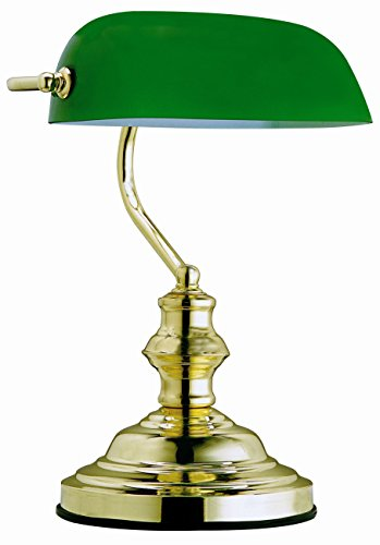 Globo Tischleuchte Bankerlampe messing Glas grün, Schalter 1 x 60 W, E27, H: 36 cm T: 25 cm 2491 - Glasschirm Tischlampe