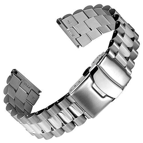Cinturino Geckota Acciaio inossidabile President Argento, Fibbia Spazzolato/Lucido, 20mm