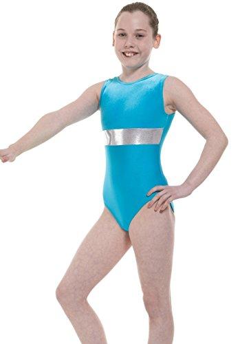 Tappers & Pointers ärmellos lycra/samt gymnastik trikot mit silber streifen - GYM6 - Kingfisher, 6-8 Jahre -