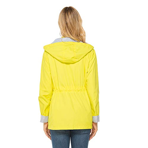 bedee Women's Waterproof Rain Jacket, Waterproof Windproof Ladies Autumn Coat, Lightweight Waterproof Hooded Jacket for Cycling, Walking, Travelling Yellow