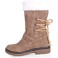 LIANGXIE Botas de Nieve de Gran tamaño para Mujer Botas de Invierno cálido Botas Gruesas de algodón Botas para Mujer (Color : Caqui, tamaño : 39)