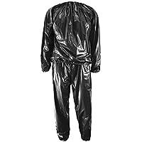 SeniorMar Heavy Duty Sweat Sauna Suit Anti-Rip Training Fitness Pérdida de Peso Ropa para Adelgazar Color sólido Ejercicio Sport Gym Suit - Negro 3XL