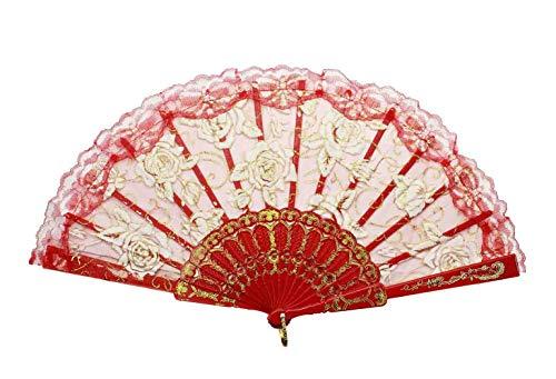 (HAAC Spitzenfächer Fächer mit Rosen Farbe Rot 45 cm x 24,5 cm Feste Fasching Karneval)