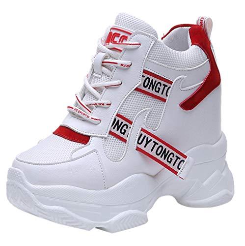 Sportschuhe Damen Sneakers Wedges Freizeitschuhe mit Keilabsatz Atmungsaktiv Mesh Turnschuhe Erhöht Einlegesohle Laufschuhe Outdoor Bequeme Plateauschuhe (EU:34, Rot)