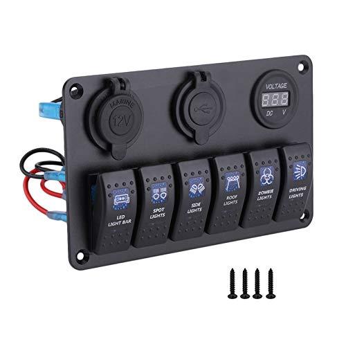 Lynn025Keats Universal-6 Gang Doppel-USB-Schnittstelle LED-Rocker Autos Boot Switch Panel - Zwei Rocker Switches