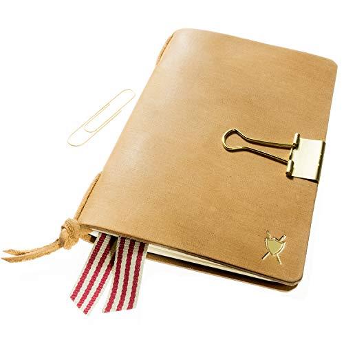 LIEBHARDT - diario / taccuino Cover di pelle A6 Handmade in pelle conciata al vegetale per sostituire per quaderni Moleskine (9 x 14 cm) con fermagli dorati come segnalibro.