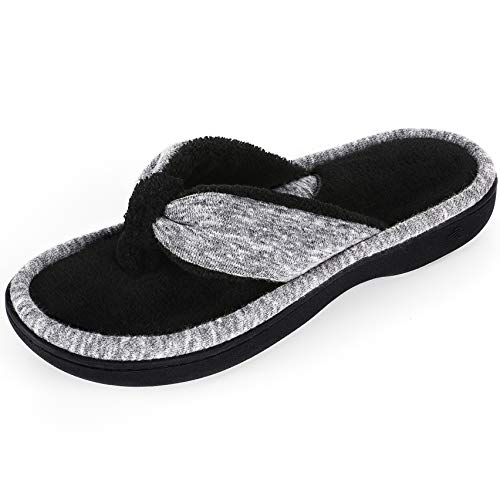 Wishcotton Women's Adjustable Memory Foam House Spa Thong Slippers Grau Thong