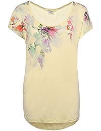 Stitch & Soul Damen T-Shirt mit Blumen Print | Elegantes Shirt mit romantischem Aufdruck aus leichter Viskose