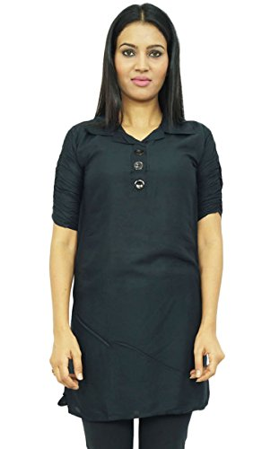indian ethnischen kurti Muster Sommer Frauen feste tragen Viskose Bekleidung Kurzarm Schwarz