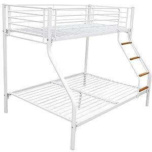 Homcom Bunk Bed Single Double Triple Metal Sleeper Bed Children Kid Frame Furniture White