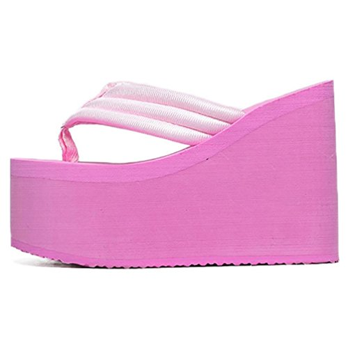 SHANGXIAN muffin bas antidérapage bascules Wedge Sandal pink