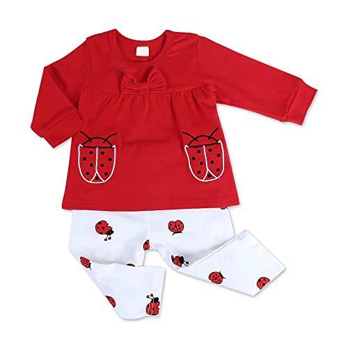 �dchen Kleidung Langarm Marienkäfer Muster Rot Kleinkind Outfits mit Tops und Hosen (70) ()