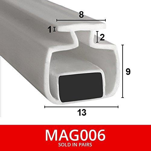 Shower Seal UK MAG006 Magnetische Duschdichtungen für Kanäle, als Paar verkauft, weich, flexibel, faltbar, weißer Gummi, T-Profil mit Magnet, passt in einen 8-mm-Kanal, 2m lang - Kühlschrank Mit 2 Schiebetüren