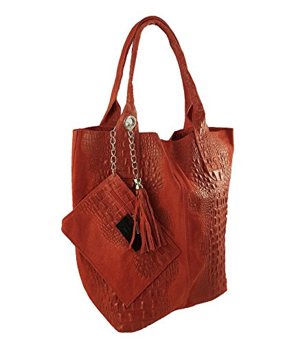FreyFashion - Made in Italy, Borsa tote donna Rot Kroko
